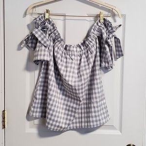 Tops - Gingham Over the shoulder Top